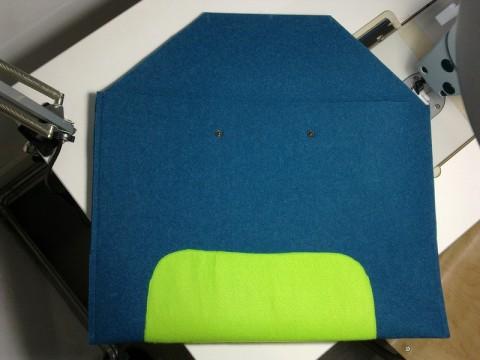 Prototyp Laptophülle aus unserem 2,5mm, 100% PES, 500gr/m²